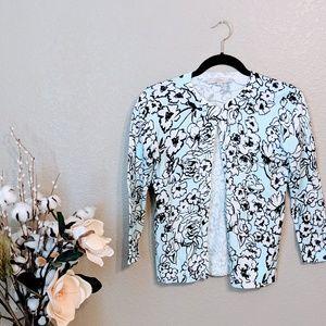 LOFT Light Blue Floral Thin Knit Cardigan Sz S